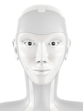 female hand: Robotic head looking into the camera. Robots face with bright eyes. Front view isolated on white background.