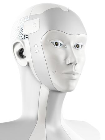 측면에서 볼 때 미래의 로봇 머리. 흰색 배경에 고립.