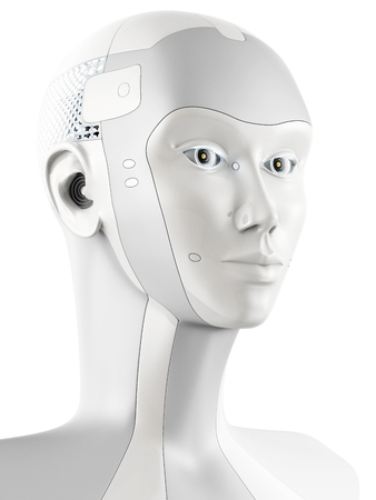 artificial model: Futuristic robotic head in side view. Isolated on white background. Stock Photo
