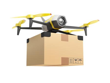 Bezorging drone met een pakket. 3D concept op witte achtergrond wordt geïsoleerd die
