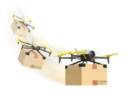packet: Row of drones delivery with a package. 3D concept isolated on white background.