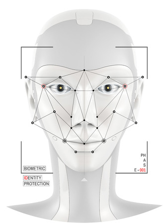 mesh background: Biometric verification. Concept of face identification. Robot head recognition.