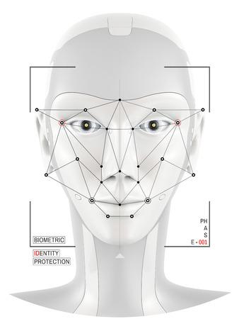 Biometric verification. Concept of face identification. Robot head recognition.