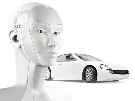 흰색 배경에 현대 로봇과 아름다운 스포츠카. 인공 지능을 가진자가 운전하는 자동차의 개념입니다.