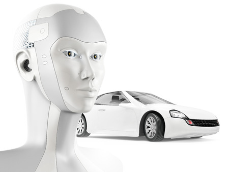 Modern robot and beautiful sports car on white background. Concept of self-driving car with artificial intelligence.
