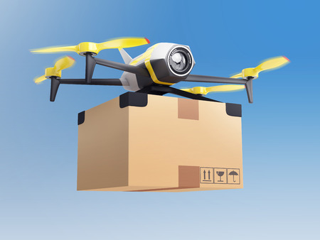 delivery drone with a package in the sky Foto de archivo