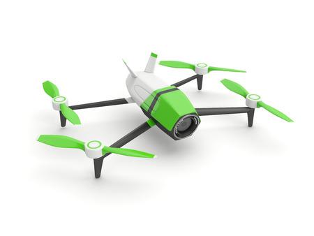 phantom: Drone quadrocopter with photo camera on white background Stock Photo