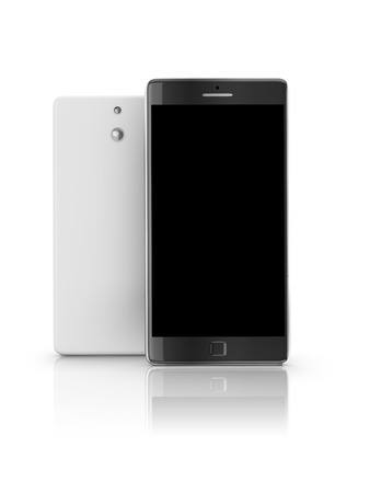 Mobile smartphone with blank black screen on white background. Front view of mobile smartphone and back cover redy for you design.