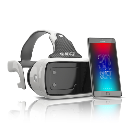 virtual reality headset and mobile smartphone on white background Stock Photo - 53106417