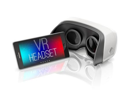 casco de realidad virtual y el teléfono inteligente móvil en el fondo blanco