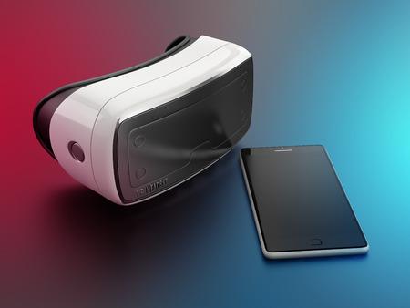 仮想現実のヘッドセットと携帯電話スマート フォン 写真素材