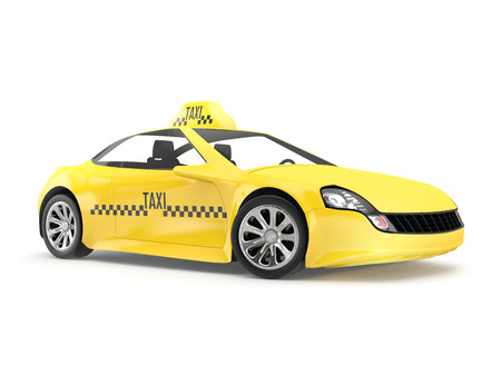 no name: Yellow taxi isolated on white background. 3d render no name car.