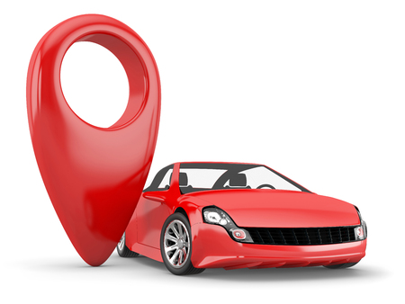 red  pointer: red pointer and red car on white background