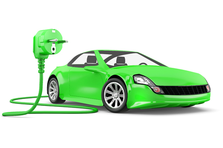 green power: concept of electric car with with green power plug on white background