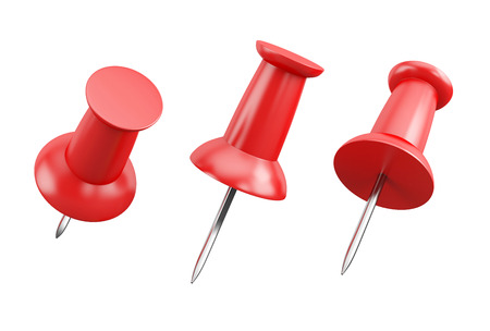 push in pins: set of red push pins isolated on white background
