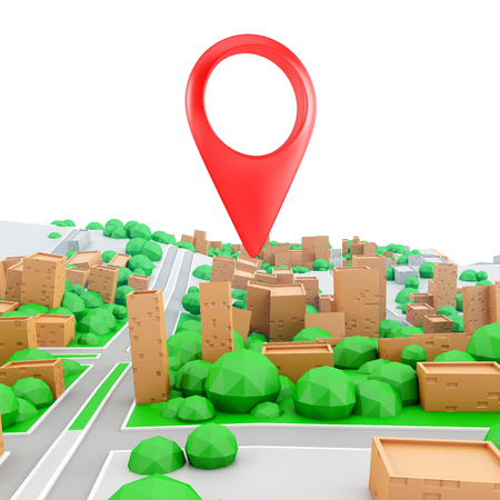 red  pointer: Perspective view, landscape of the small city. Red pointer on the 3d map. GPS navigation concept. Stock Photo