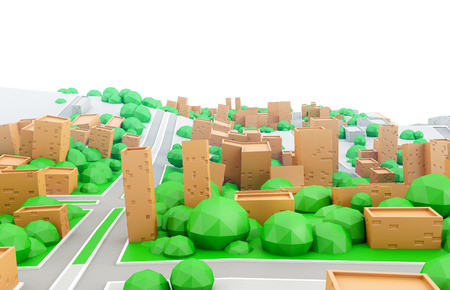 white sky: Abstract 3d model of a cardboard city with empty white sky. Low poly toy town.