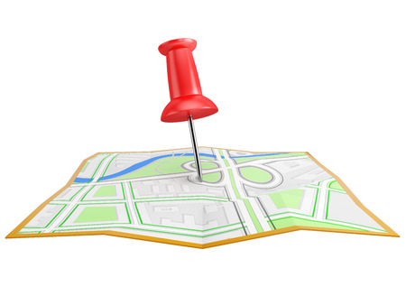 red pin: red pin on the city map,  isolated on white background
