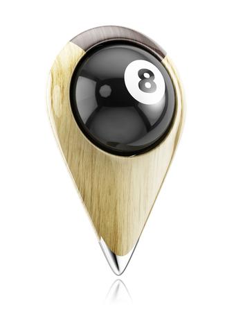 bola ocho: Bola de billar en el puntero. puntero del mapa diseñado en el estilo de billar. Concepto 3D aislado sobre fondo blanco.