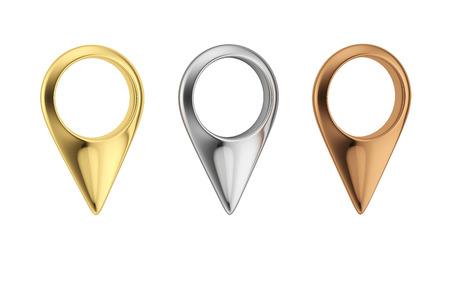 골드, 실버 및 브론즈지도 포인터. 금속 핀 아이콘의 집합입니다. 지도 마커에 격리 된 흰색 배경. 스톡 콘텐츠