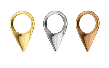 Gold, silver and bronze map pointers. Set of metal pin icon. Map markers isolated on white bacground. Banque d'images