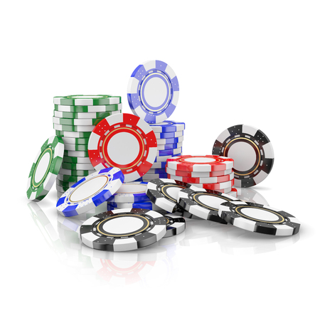 tokens: stacks of poker chips, gaming tokens isolated on a white background