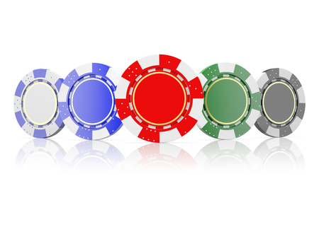 wagers: front view of a poker chips  isolated on a white background