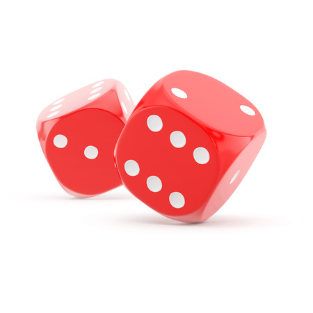 rolling dice: two red rolling dice on a white background