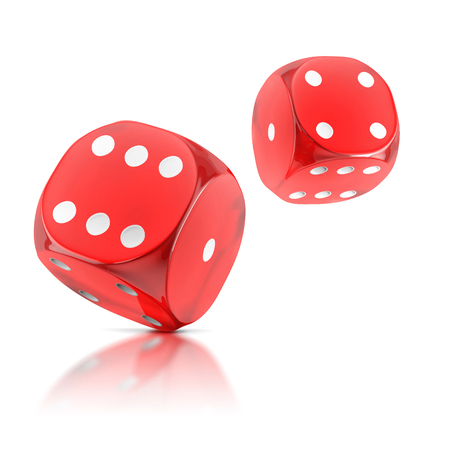 rolling dice: red rolling dice on a white background