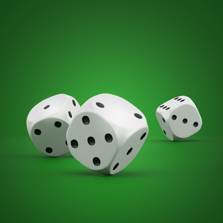 rolling dice: white rolling dice on a green white background