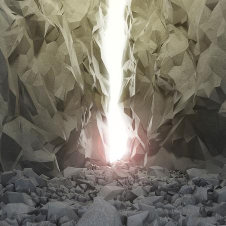 Weg durch einen engen Gang im Sonnenlicht. Konzept der harte Weg zum Erfolg oder Freiheit. Ausfahrt aus der Höhle oder Schlucht. Hintergrund für Ihre soziale Werbung.