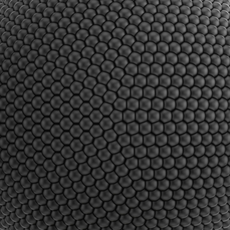 spheres: 3D illustration of pattern or texture consisting of black spheres Stock Photo
