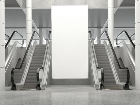 공공 장소에서 빈 수직 큰 포스터. 쇼핑몰에서 에스컬레이터, 쇼핑 센터, 공항 터미널, 사무실 건물이나 지하철 역 근처에 빌보드 모형. 3D 렌더링. 스톡 콘텐츠