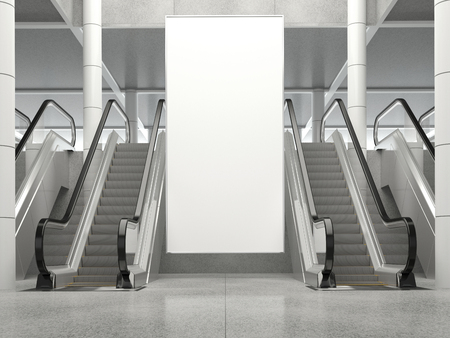 Blank vertical big poster in public place. Billboard mockup near to escalator in an mall, shopping center, airport terminal, office building or subway station. 3D rendering.