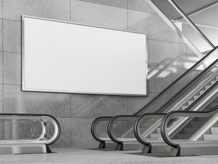 Blank horizontal big poster in public place. Billboard mockup near to escalator in an mall, shopping center, airport terminal, office building or subway station. 3D rendering.