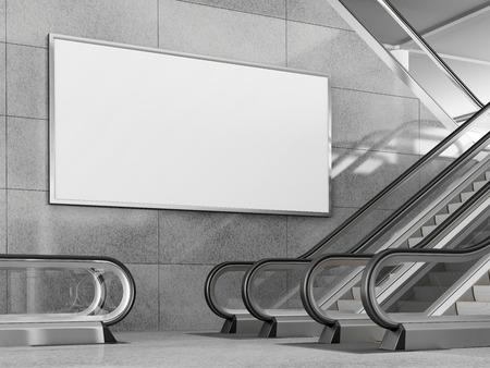 Lege horizontale grote poster in openbare plaats. Billboard mockup in de buurt van roltrap in een winkelcentrum, winkelcentrum, luchthaven terminal, kantoorgebouw of metrostation. 3D-weergave.