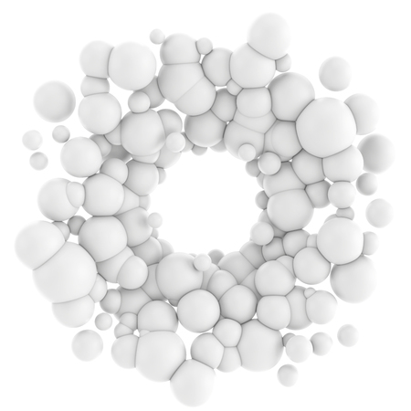 annular: 3D illustration of abstract array consisting of the white spheres. Spherical particles in the form of an annular on white background