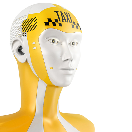 robot face: 3D illustration of friendly robot face with sign taxi on the head. Taxi service concept isolated on white. Yellow cyborg.