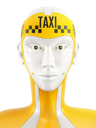 robot face: 3D illustration of friendly robot face looking at camera. Yellow cyborg with sign taxi on head. Taxi service concept isolated on white.