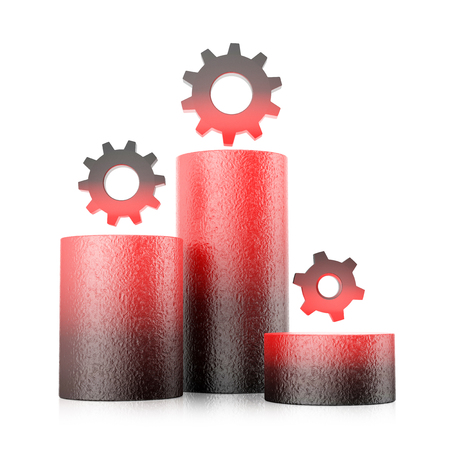 Gear wheels standing on cylinders symbolize status bar. Performance concept isolated on white background. Growth column. 3D illustration.
