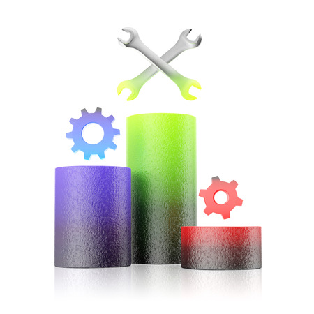 Gear wheels and wrench standing on cylinders symbolise status bar. Performance concept on white background. Growth column. 3D illustration.