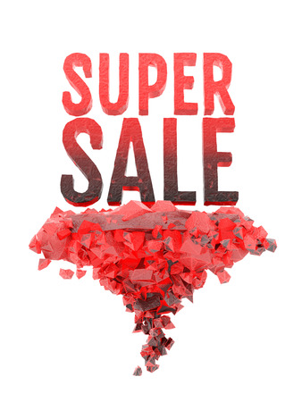 super hot: Super sale word stand on hot coals. 3D illustration isolated on white background
