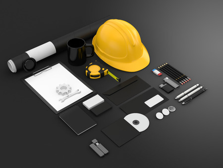 tube wrench: Identity mock up for construction or industrial company. Set of blank stationery for branding identity on black background.  Helmet, roulette, wrench, cogwheel, paper A4, CD envelope, flash drive, business cards, tube. 3D illustration.