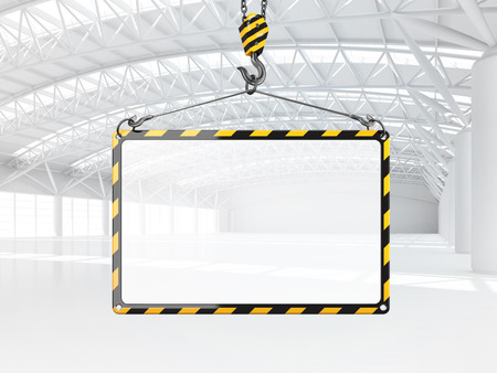 empty warehouse: Abstract empty white warehouse interior with empty frame hanging on the crane hook. 3D illustration.
