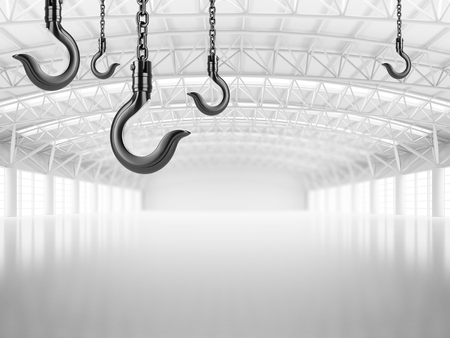 warehouse interior: Abstract empty white warehouse interior with hanging crane hooks on the ceiling. 3D illustration