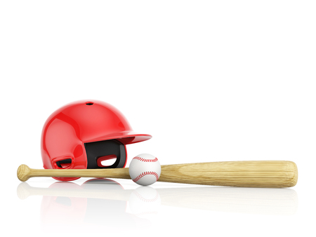 dugout: A red baseball helmet, wooden bat and white leather ball on a white background with copy space. 3D illustration Stock Photo