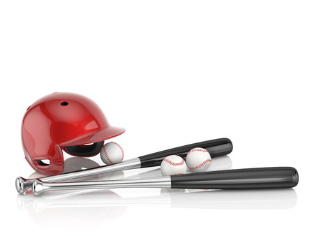 dugout: Modern baseball equipment. A red baseball helmet, metall bat and white leather ball isolated on a white background with copy space. 3D illustration.