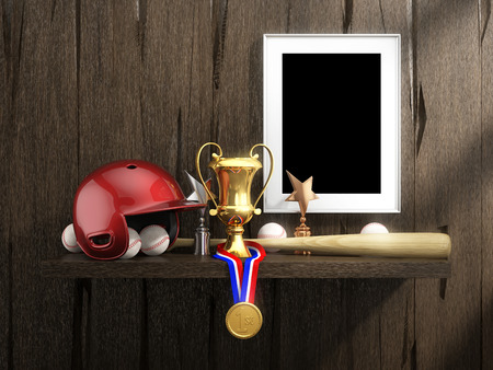 bat and ball: Baseball equipment and empty frame on a rustic shelf on the old wood wall background. Items include, red helmet, wood bat, ball; frame, gold medal, cup, sports trophies. 3D illustration.