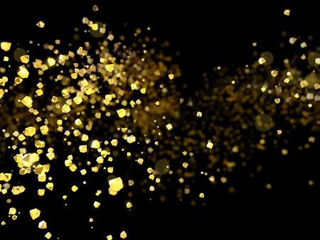 light trail: Golden splashes or particles on black background, 3D illustration of gold sparkles.
