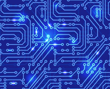 抽象的なマザーボードの回路基板の背景イラストです。シームレス パターン。  イラスト・ベクター素材